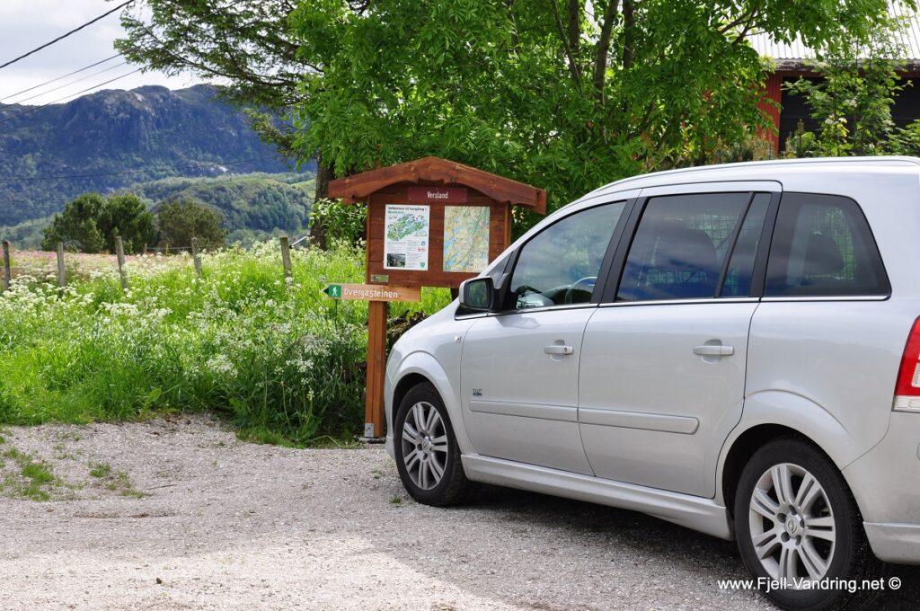 Dvergasteinen - Parkering på Versland i Bjerkreim kommune