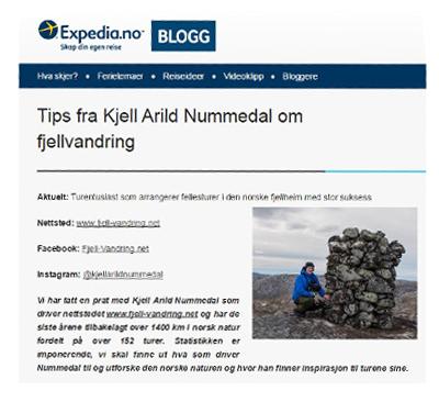 Fjell-Vandring.net - Intervjuet og omtalt på Expedia