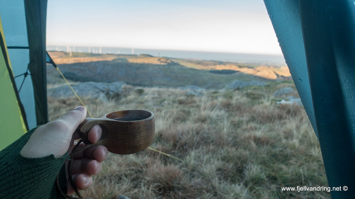 Kvernafjellet - Kaffe på morgningen er viktig