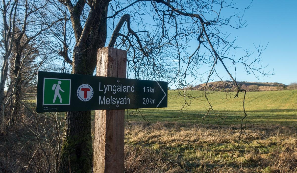 Lyngaland - Fotturen er skiltet og merket