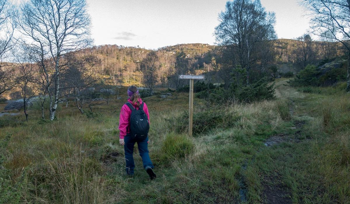 Støybingsvarden - Heidi følger skilting mot Støybingsvarden